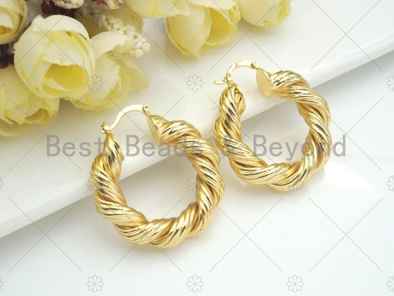 Gold Twisted Hoop Earrings, Bold Gold Hoop Earrings, Chunky Earrings, Statement Hoops, Hoops Earring gift for her, 36mm, sku#J295