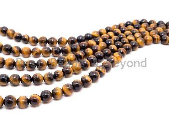 Quality Natural Yellow Gold Tiger Eye Beads, 6/8mm/10mm/12mm/14mm Round Smooth Beads, Yellow Tiger Eye Beads, 15inch Full strand, SKU#U235