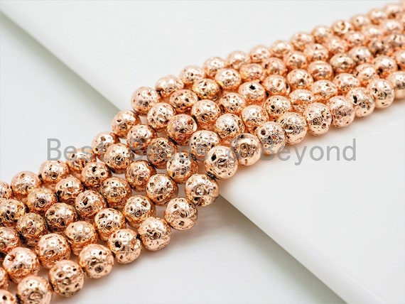 "Rose Gold Plated Lava Round Beads, 4mm/6mm/8mm/10mm/12mm Rose Gold Gemstone Beads,15.5"" Full Strand,SKU#S111"