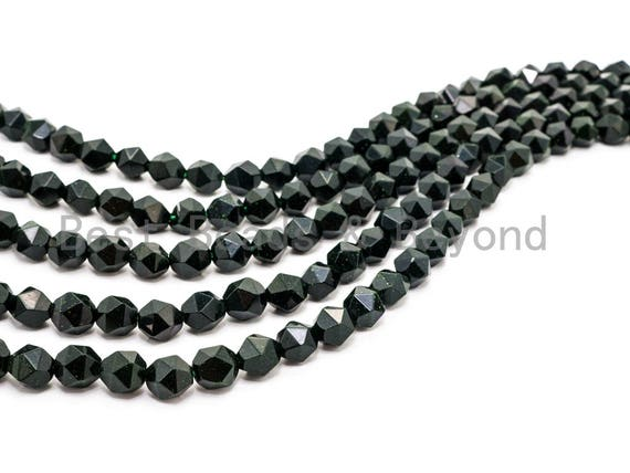 Unique Diamond Cut Quality Natural Dark Green Goldstone beads, 6mm/8mm/10mm/12mm, Faceted Round Gemstone Beads, 15.5inches strand, SKU#U148