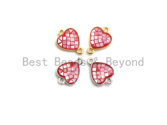 100% Natural Heart Shape Hot Pink Connector with Gold/Silver Plated Edging, Fuchsia pink Connector, Shell Connector, 10x14mm,SKU#Z276