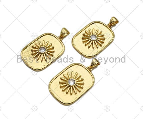 18k Dainty Gold Daisy Flower On Rectangle Shape Charms, Dainty Charms, Gold Pendant, Rectangle  Necklace Charms, 17x26mm, Sku#LK167