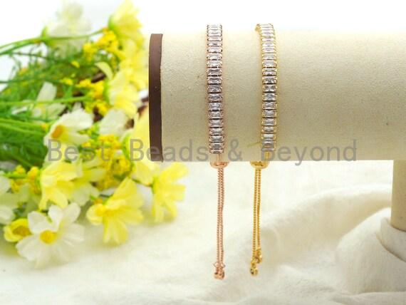 1/5Pcs Sliding adjustable  bracelet, Box chain with Baguette CZ Bracelet, Thin bracelet, Bridal Bracelet Jewelry, sku#Z679