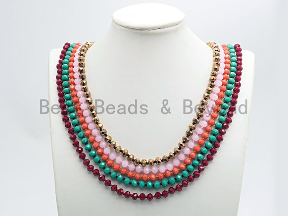 "2019 NEW Summer COLORS 60"" Extra Long Hand Knotted Crystal Necklace, Double Wrap Necklace, 5x8mm Rondelle Crystal Beads, SKU#D36"