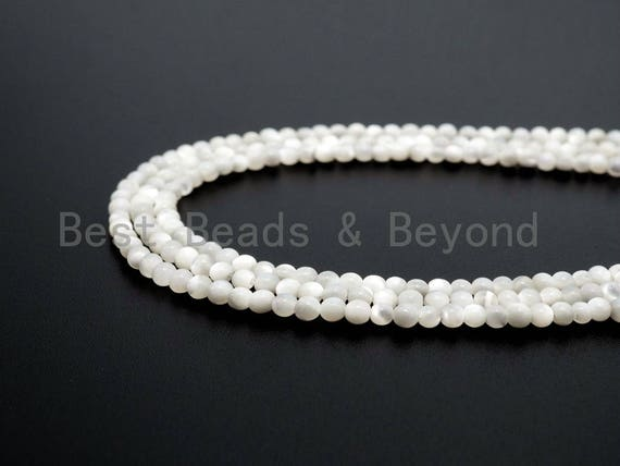 Natural Mother of Pearl beads, 2mm White Pearl Round Smooth Beads Strand , Round Pearl Shell Beads, 16inch full strand, SKU#T97