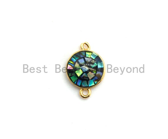 100% Natural Abalone Round Connector with Gold/Silver Plated Edging, Abalone Connector for Earring Bracelets Necklace, 10x15mm,SKU#Z282
