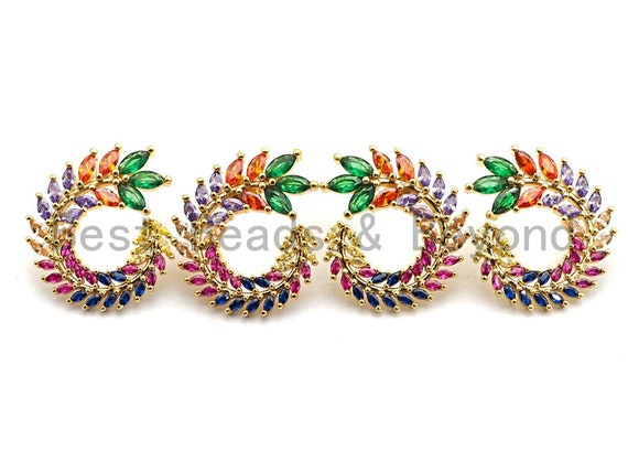 Pre-Selling Colorful CZ Micro Pave Earring, Peacock Shaped Earring, Rainbow CZ Gold Stud Earrings, 24x28mm,sku#J113