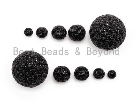 Black CZ Micro Pave Black Round Ball Bead,Rhodium Shamballa Ball beads, CZ Space Beads 6mm,8mm,10mm,12mm,14mm,16mm,25mm,sku#G331