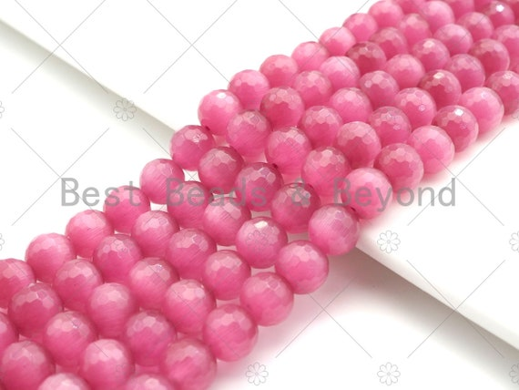 Special Cut Hot Pink Cat's Eye Round Faceted Beads, 6mm/8mm/10mm/12mm Round Faceted, 15.5'' Full Strand, Sku#UA202