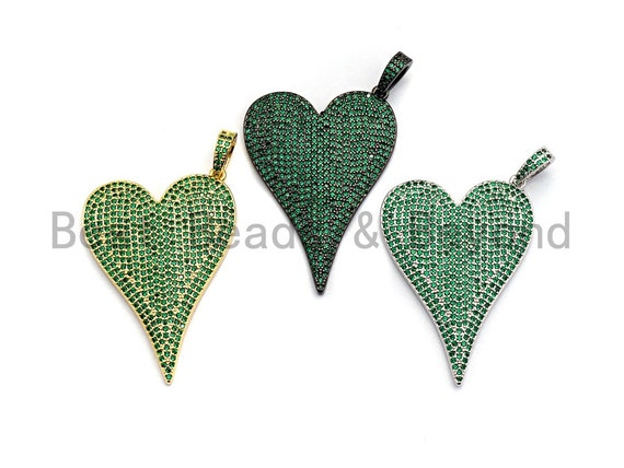 CZ Green Micro Pave Large Heart Pendant, Heart Shaped Pave Pendant, Gold/Rose Gold/Silver/Gunmetal plated, 30x41mm, Sku#X53
