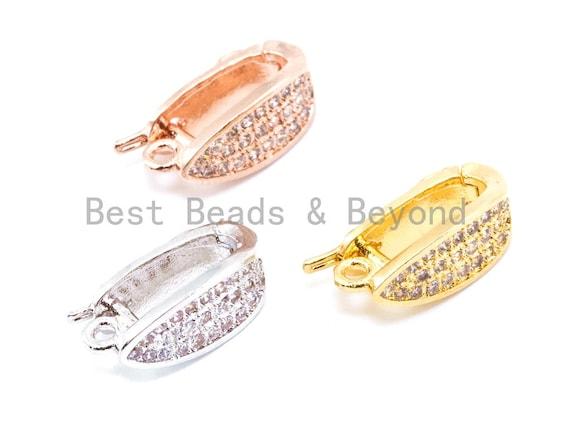 CZ Micro Pave Pendant Enhancer Bail, Gold, Silver Rhodium Plated, Fine Jewelry Bail,Pave Clasp, Pave Pendant Lock, Pendant Bail, sku#J9