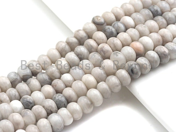 "2mm Large Hole Natural White Lace Agate Beads, Rondelle Smooth 6x10mm/5x8mm, 8"" Long Strands, sku#U713"