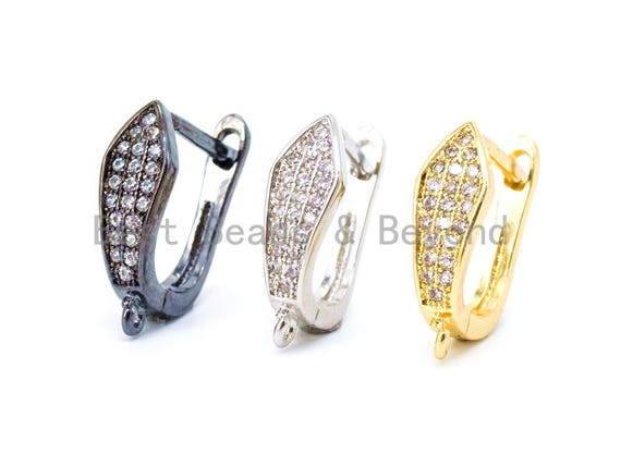 1pair/3pairs, CZ Micro Pave Gold,  Silver Black Latch Back Earring, Lever back ear wires,Pave CZ earrings, sku#J8