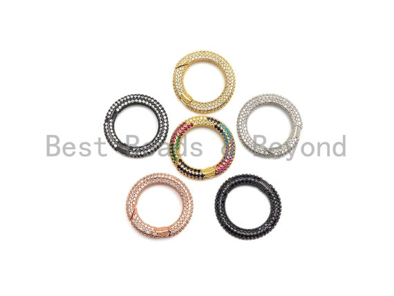 NEW Style Fully CZ Micro pave Round Clasp With Easy Open Spring, Ring Clasp, Carabiner Clasp, Charm Holder, Pave Clasp, 26mm, sku#H260