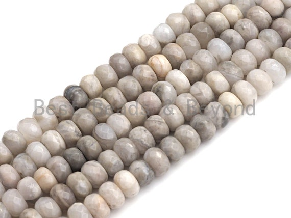 """2mm Large Hole Natural White Lace Agate Beads, Rondelle Faceted 6x10mm/5x8mm, 8"""" Long Strands, sku#U734"""