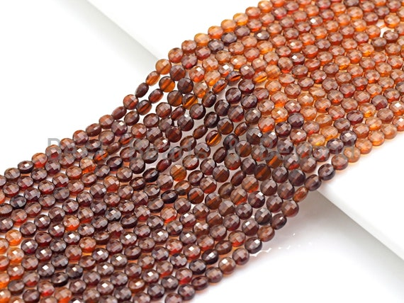 """4mm High Quality Natural Golden Brown Garnet Beads, Checkboard Cut Coin Shape Garnet Beads, 15.5""""Full Strand, sku#U784"""