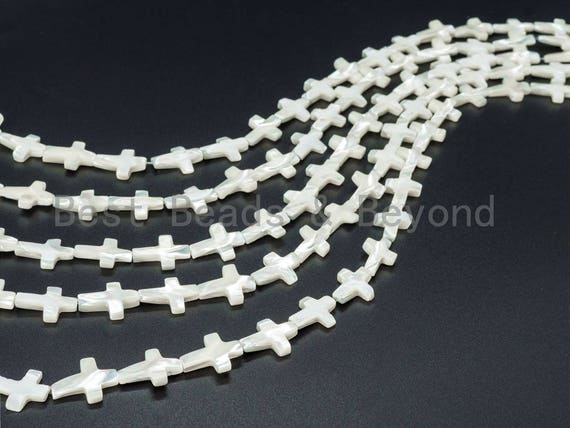 8x13mm/13x18 mm High Quality White Shell, White Mother of Pearl, Mop Shell, Cross Smooth Beads, Pearl Shell, 15.5inch Full Strand sku#T20