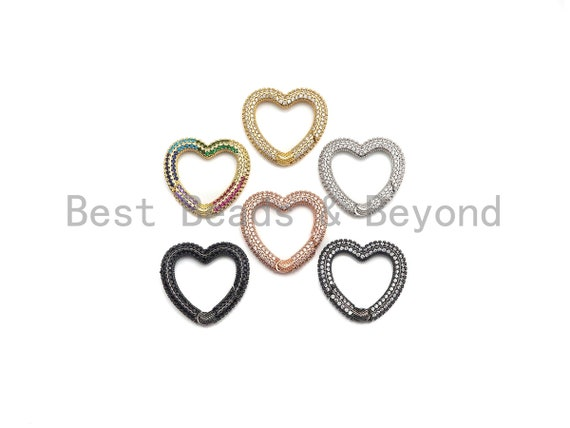 NEW STYLE!!! Fully CZ Micro Pave Heart Carabiner Clasp with Easy Open Spring, Heart Spring Snap Clasp, 26x28mm, sku#H259