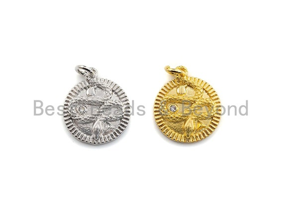 Medallion Snake on Round Coin Pendant, Snake Pendant, Gold/Silver Tone, 16x18mm, Sku#Z691