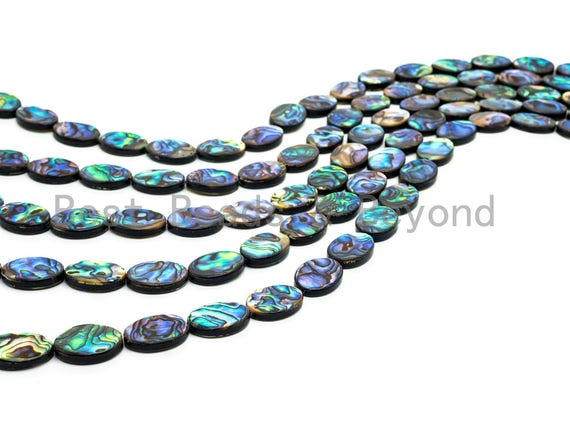 Natural Abalone Shell Oval beads,8x10mm 8x12mm 10x14mm 12x16mm 13x18mm 15x20mm,Flat Oval Abalone Shell Loose Beads, 16inch strand,SKU#R1