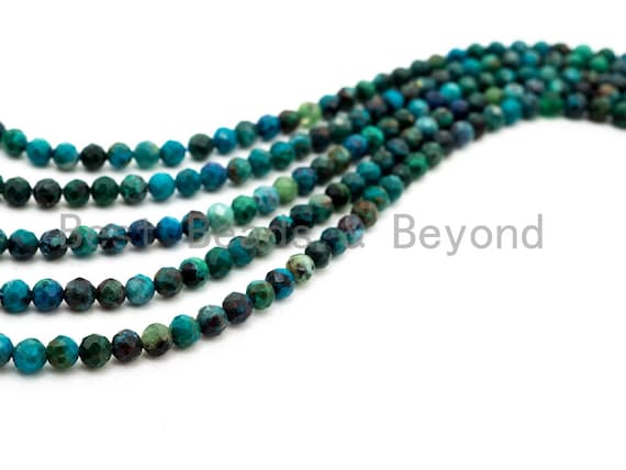 High Quality Natural Chrysocolla beads, 2mm/3mm/4mm, Faceted Round Tiny Gemstone Beads, Sparkly Gemstone Beads, 15.5inch strand, SKU#U234