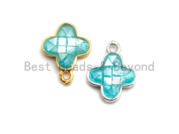 100% Natural Aqua Blue Shell Clover Pendant, Turquoise Blue Shell Charm/ Pendant, Natural Shell Charm, Shell Jewelry, 10x13mm,SKU#Z332