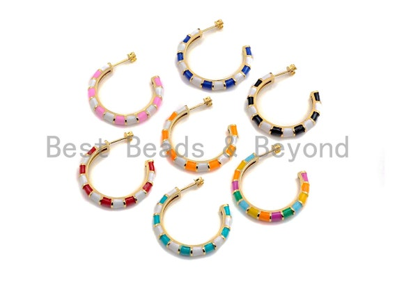 Colorful Enamel Round Ring Stud Earring, Enamel Earrings Gold Finish,Colorful Enamel pave earrings, 5x33mm,sku#J155