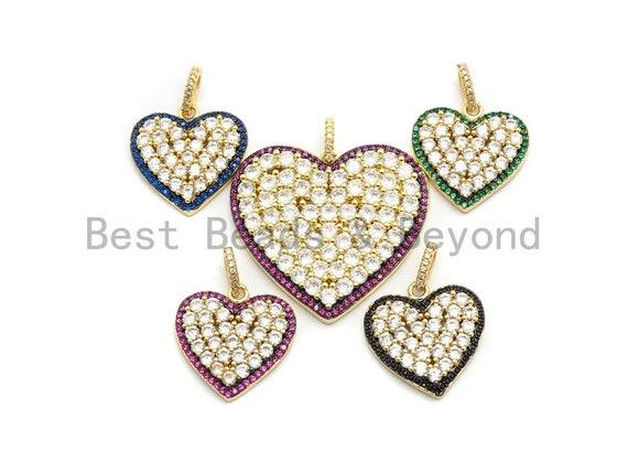 CZ Micro Pave Large Heart Pendant, Fuchsia Cz Pave Pendant, Fashion Jewelry Findings, Focal Charm, 21x21/33x35mm, sku#F688
