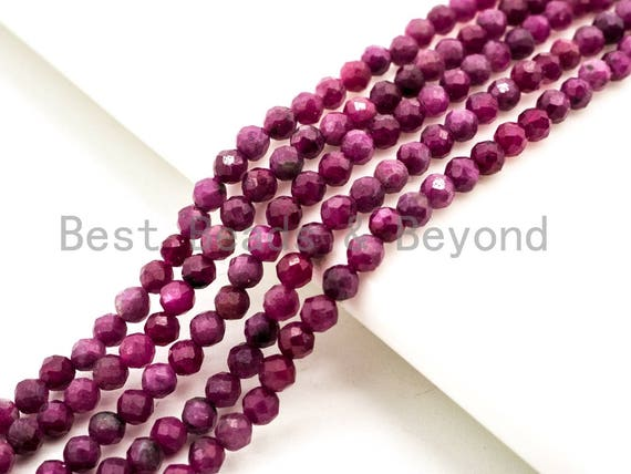 """High Quality Natural Ruby Faceted Round Beads, 2mm/3mm/4mm Ruby Gemstone Beads,15.5"""" Full Strand,SKU#U212"""