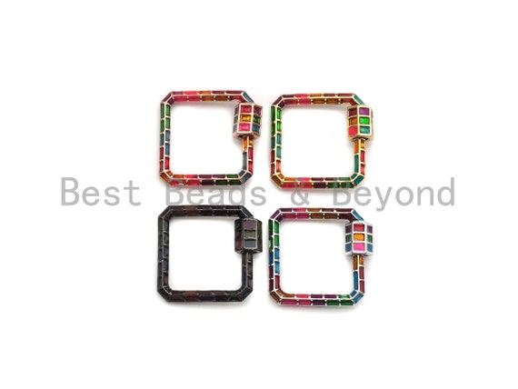 PRESELLING Colorful Enamel pave Square Shape Clasp, Enamel Pave Clasp, Gold/Silver/Rose Gold/Gunmetal Carabiner Clasp, 22.5mm, sku#H224