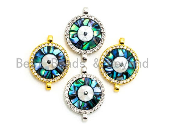 CZ Micro Pave Round Evil Eye Connector with Abalone Shell, Cubic Zirconia Space Connector, CZ Abalone Stone Charm 13x17mm, 1pc,SKU#Z30