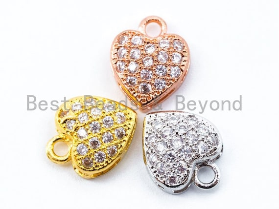 1PC/2PCS Clear CZ Micro Pave 10mm Heart Charm, CZ Pave Charm in Gold/Rose Gold/Silver Finish, sku#B23