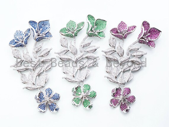 Large CZ Micro Pave Cobalt/Green/Fuchsia Flower Pendant, Multi-Strands Necklace Pendant, Fancy Jewelry Pendant, 88x42mm, sku#L170