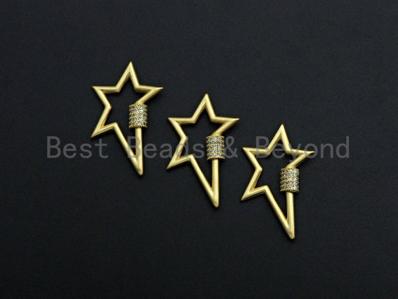 PRESELLING Clear CZ Micro pave Star Shape Clasp, CZ Pave Clasp, 24K Gold Carabiner Clasp, 21x32mm, sku#H201