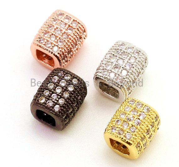 1pc/5pcs CZ Big Large Hole Barrel Spacer Micro Pave Beads, Cubic Zirconia Drum Barrel Space Beads, Men's Bracelet Findings, 7x6mm, SKU#G39