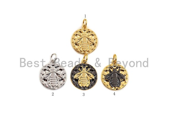 Medallion Insects on Round Coin Pendant, Round Coin Pendant, Gold/Silver Tone, 15X17mm, Sku#Z725