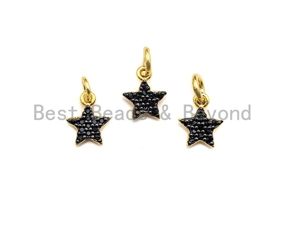 PRE-SELLING Black CZ Micro Pave Five Star Shape Pendant, Five Star Pave Pendant, Gold plated, 7x9mm, Sku#Z699