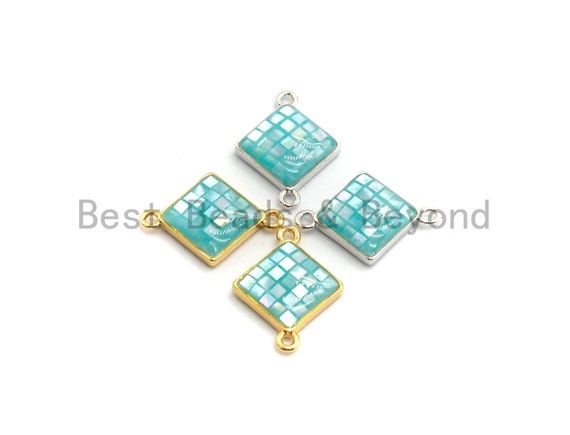 100% Natural Shell Aqua Blue Diamond-Shaped Connector with Gold/Silver Plated Edging, Natural Shell Beads, 14x18mm,SKU#Z286