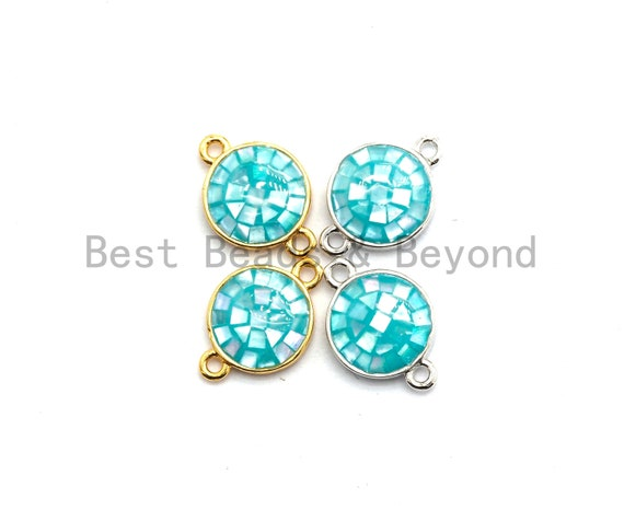 100% Natural Aqua Blue Shell Round Connector with Gold/Silver Plated Edging, Blue Shell Connector, Natural Blue shell,  10x15mm,SKU#Z280