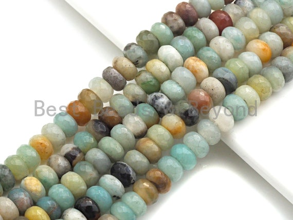 """2mm Large Hole Natural Amazonite Beads, Rondelle Faceted 6x10mm/5x8mm, 8"""" Long Strands, sku#U709"""