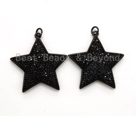 Black CZ Pave On Black Micro Pave Five Point Star Pendant/Charm,Cubic Zirconia Pendant,Fashion Jewelry Findings, 31x32mm, sku#F538