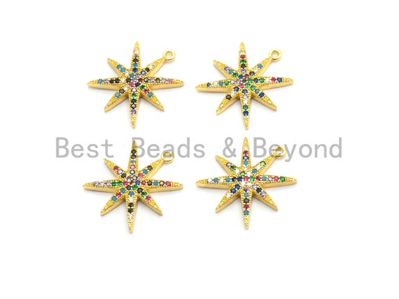 Multi-Color CZ  Micro Pave Star Charm/Pendant, Star Shaped Pave Pendant, Gold plated, 9x11mm, Sku#B104