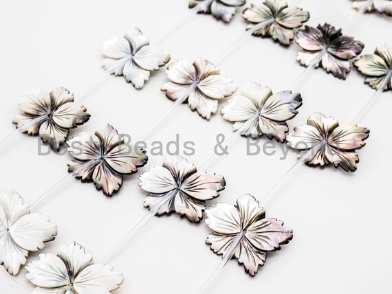 1/10pcs Natural Mother of Pearl beads, 25-30mm White and Black Carved Pearl Flower Leaf strand, Shell Beads, 16inch full strand, SKU#T104