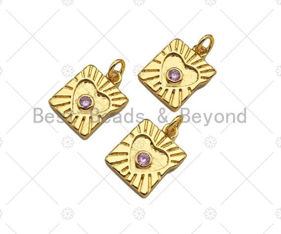 CZ Micro Pave Heart Rectangle Shape Pendant/Charm,Cubic Zirconia Medallion Charm, Necklace Bracelet Charm Pendant,11x14mm, Sku#Z1273