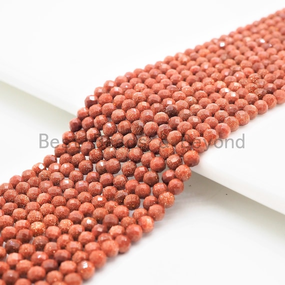 2mm/3mm/4mm High Quality Round Faceted Goldstone Beads, Shiny Tiny Gemstone Beads, Sparkling Golden Brown Beads, 15inch strand, SKU#U365