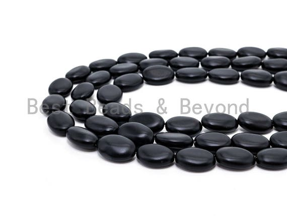 "Quality Matte Black Oval Onyx Flat Oval Beads, 8x12mm/10x14mm/13x18mm/15x20mm Gemstones Beads,Oval Black Beads 15.5"" Full Strand SKU#Q37"