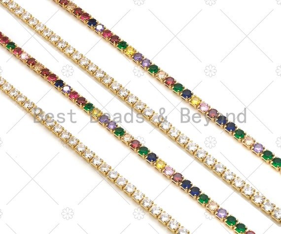 3 mm tennis chain, 18kt Gold plated Rainbow/Clear Pavecrystal diamond Necklace, Dainty Necklace, Fashion Jewelry, 16inch,sku#LD54