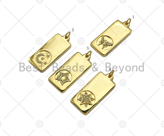 CZ Micro Pave Butterfly Moon Five Point Star North Star On Rectangle Pendant,CZ Medallion Charm, Necklace Bracelet Charm,12x28mm, Sku#LK278