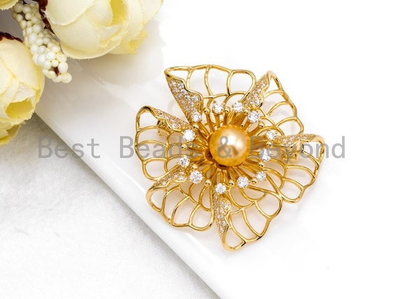 CZ Micro Pave 3D Flower Brooch/Pin/ Pendant with 10mm Round Shell Pearl,Gold plated, Pave Flower Brooch Pin Jewelry,46x47mm, Sku#P30