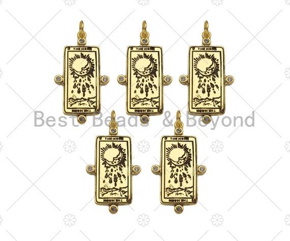 18K Gold Filled Moon On Rectangle Shape Pendant, Micro Pave CZ Gold Filled Enamel Charm, Necklace Bracelet Charm,19x34mm,Sku#Z1348